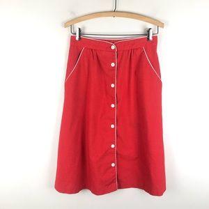 Vintage 70's a-line skirt red pockets Amelia 0714